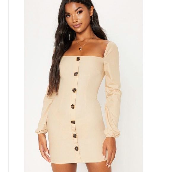 b801f72ea9ee Stone Puff Sleeve Button Up Bodycon Dress
